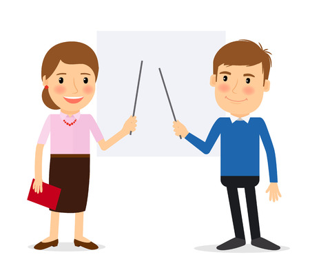 Training people. Woman pointing at whiteboard and man pointing at whiteboard. Vector illustration