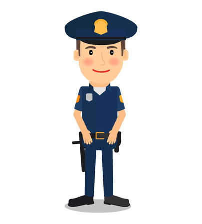 Policeman and police officer character on white background. Vector illustration