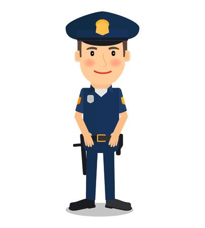 gorra policía: personaje del policía y oficial de policía en el fondo blanco. ilustración vectorial