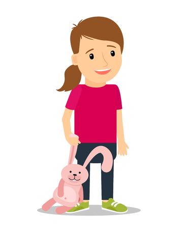 ni�as peque�as: ni�a sonriente con el conejito rosado. Ilustraci�n vectorial colorido sobre fondo blanco