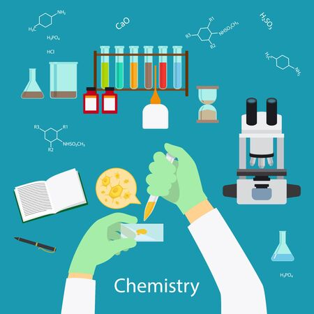 Science Experiment or chemistry laboratory concept icons on blue background. Vector illustration