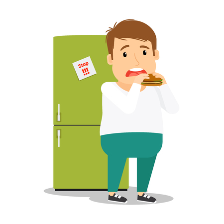 adult man: Fat man eating hamburger next to fridge colorful image on white background. Vector illustration