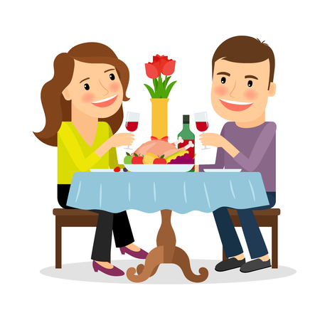 sitting at table: Couple having dinner in a restaurant. Romantic date colorful icon on white background. Vector illustration