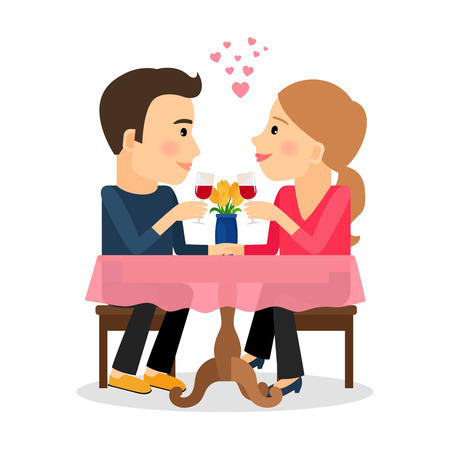 dinner date: Man and woman in love. Romantic couple sitting in restaurant with wine. Vector illustration