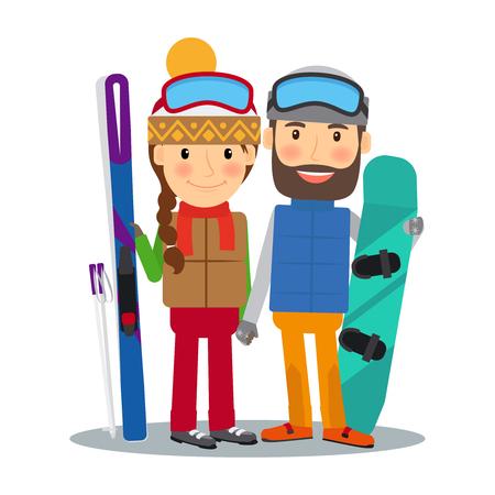 Giovane coppia felice con sci alpino e snowboard. Sci e snowboard persone. illustrazione di vettore