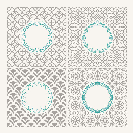 simple logo: Line frames. Thin line frames on simple patterns for logo or emblems
