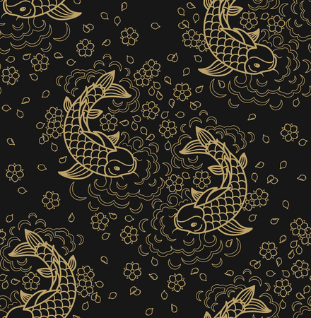 Fish pattern. Vector line seamless koi fish backround