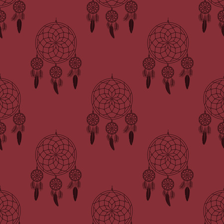 feathery: Dream catcher seamless pattern. Vector dream catcher doodle background