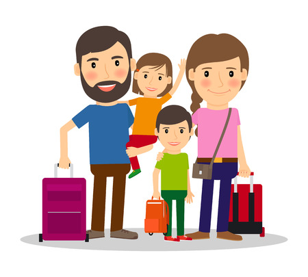 mujer con maleta: Vacaciones familiares. las personas de la familia que viaja. vacaciones en familia con los niños y las maletas ilustración vectorial Vectores