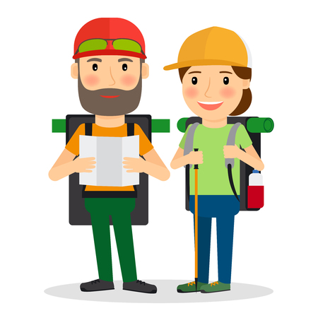 couple hiking: Hiking couple vector illustration. Couple of backpackers for camping in forest