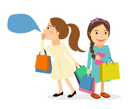 lady shopping: Female shopping concept. Women with shopping bags called on sale. Lady with speech bubble vector illustration