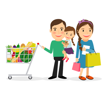family shopping: Family shopping concept. Happy family with shopping bags and shopping cart colorful icon on white background. Vector illustration