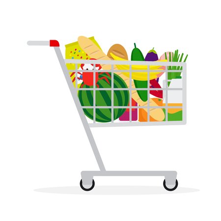 green crab: Shopping cart icon. Supermarket shopping cart in flat style with food. Vector illustration Illustration
