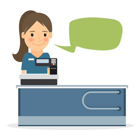 sales clerk: Supermarket store cashier woman or sales clerk at store. Female cashier vector icon