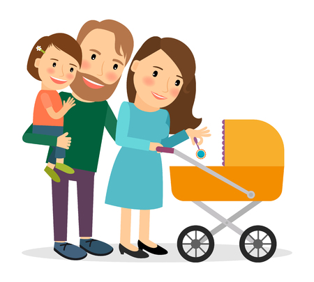 stroll: Family with baby in stroller. Mother and father with baby stroller. Vector illustration