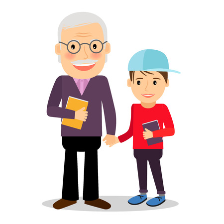 grampa: Grandfather and grandson reading books. Grandfather and his grandson standing and holding hands. Happy family time together vector illustration