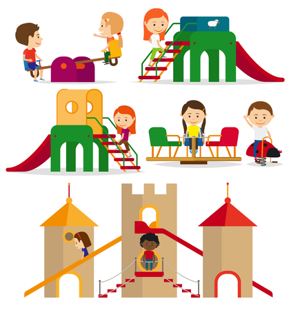 backgrouns: Children playing in the playground. Kids playground on white backgrouns. Vector illustration