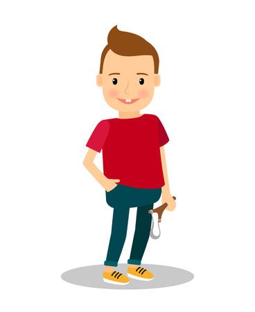 slingshot: Bully or teaser. Boy with slingshot vector illustration Illustration