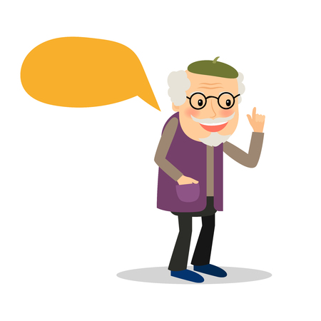 retire: Old man speaking. Older man with speech bubble on white background. Vector illustration