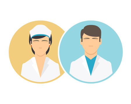 hospital staff: Medical clinic staff flat icons. Doctor and nurse icons. Vector male and female hospital personnel signs