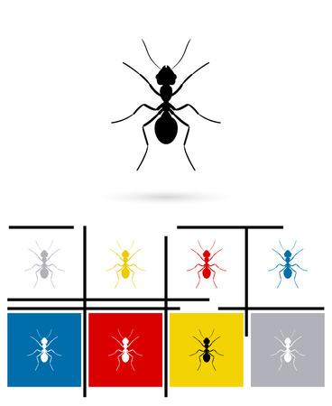 hormiga caricatura: icono de la silueta hormiga o signo de la silueta de la hormiga. Vector silueta hormiga pictograma o s�mbolo silueta hormiga