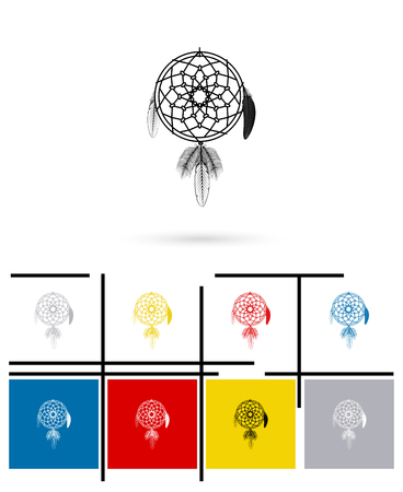 feathery: Dream catcher icon or dream catcher sign. Vector dream catcher pictogram
