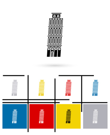 the leaning tower of pisa: Leaning Tower of Pisa in Italy icon or Leaning Tower sign. Vector Leaning Tower of Pisa symbol