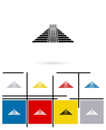 itza: Mexican mayan pyramid icon or mexican mayan pyramid sign. Vector mexican mayan pyramid pictogram