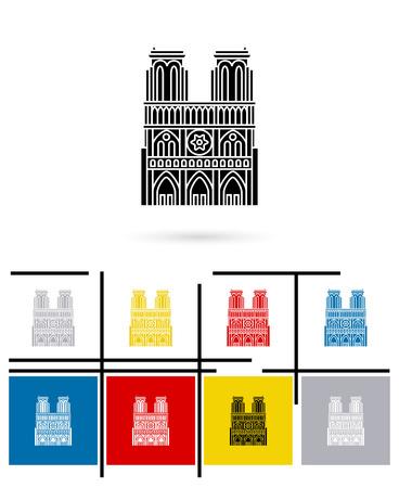 notre: Notre Dame de Paris icon or notre Dame de Paris sign. Vector notre Dame de Paris pictogram