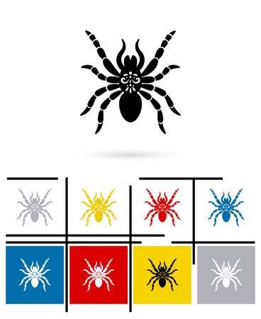 spider cartoon: Spider icon or spider sign. Vector spider pictogram or spider symbol