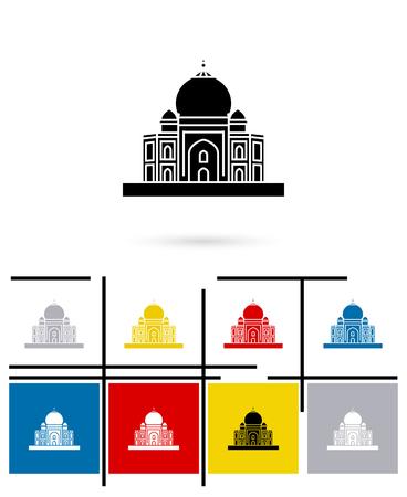 the taj mahal: Taj Mahal in India icon or Taj Mahal in India sign. Vector Taj Mahal pictogram