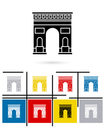 triumphal: Triumphal Arch in Paris icon or Triumphal Arch sign. Vector Triumphal Arch in Paris pictogram
