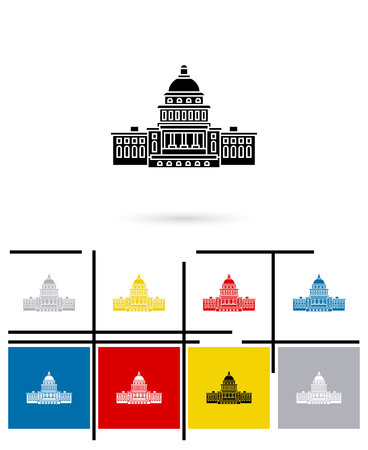capitol hill: United States Capitol icon or Capitol sign. Vector Capitol pictogram or Capitol symbol