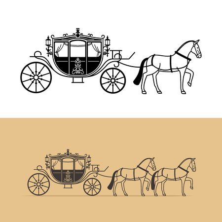 wagon wheel: Carriage silhouette with horse. Vector horse carriage silhouette