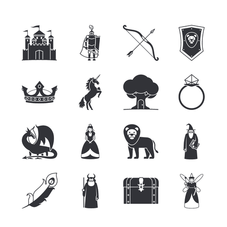 warriors: Fairytale icons or fantasy icons. Castle and sword, knight and princess, dragon and crown. Vector illustration