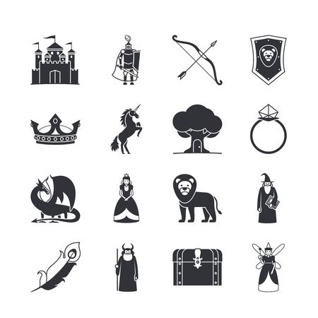 castillos de princesas: iconos o iconos de la fantas. Castillo y la espada, caballero y la princesa, Dragón y la corona. ilustración vectorial