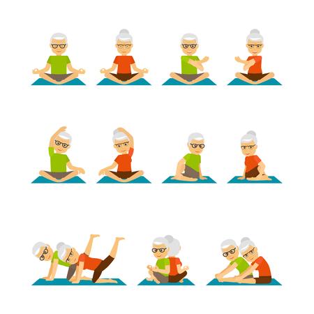 Personas mayores de yoga. Yoga para personas mayores iconos. Iillustration de vector