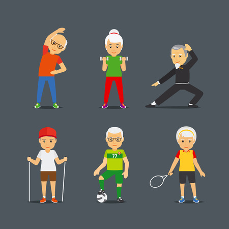 male female: Old people sport activities. Adults people sport lifestyle icons. Vector illustration