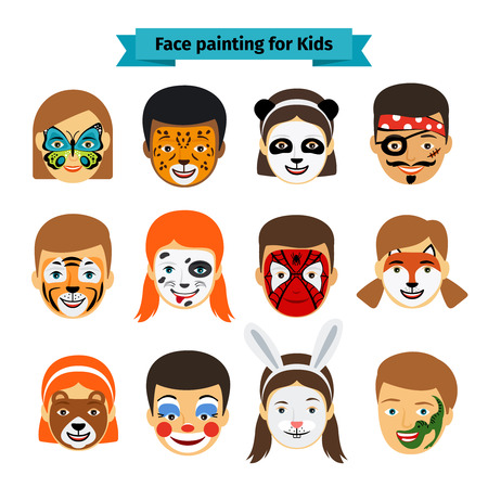 Face painting icons. Kids faces with animals and heroes painting. Vector illustration