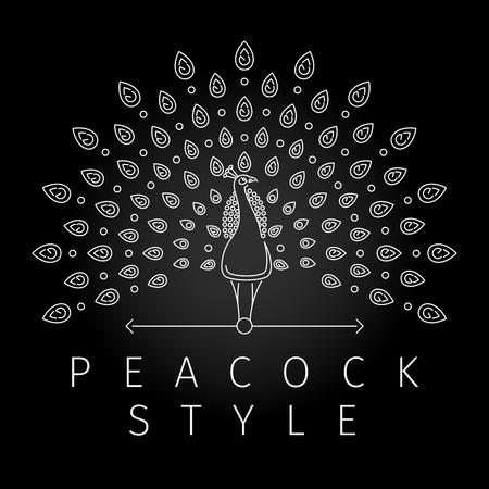 細い線の孔雀のロゴ。近代的なライン スタイルの豪華な孔雀の尾の羽の孔雀ラベルを概説します。ベクトル図