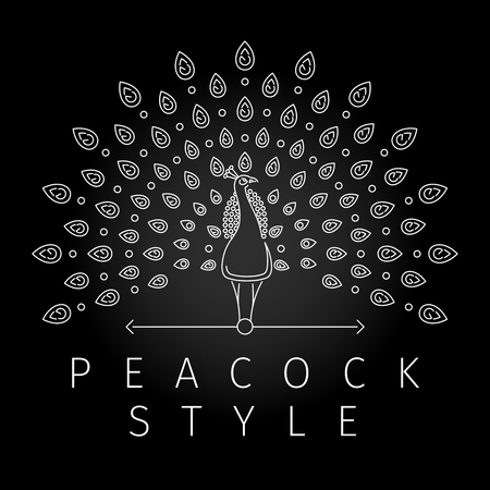 Thin line peacock logo. Outline peacock label with luxurious peacock tail feathers in modern line style. Vector illustration