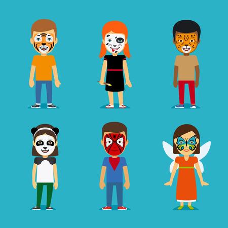 Kinderen en schminken Party. Kinderen met beschilderde gezichten. Tijger masker en panda gezicht, vlinder op gezicht en dalmatiërs kleuren. vector illustratie