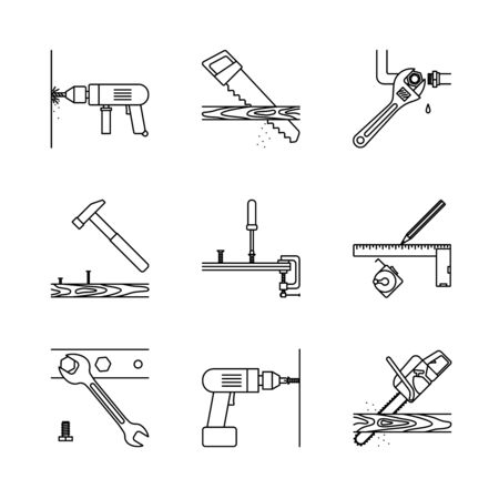 tube wrench: Home repair line icons. Home repair tools vector icons on white background Illustration
