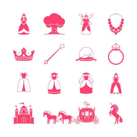 calabaza caricatura: Conjunto del icono de la princesa. Princesa de cuento artículos. ilustración
