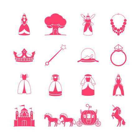 cinderella pumpkin: Princess icon set. Princess fairytale items. illustration