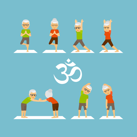 Yoga oldies. Old people yoga colorful icons on blue background. illustration Stock Illustratie