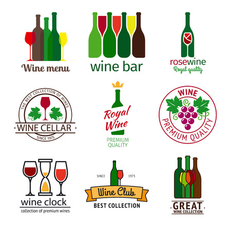 colofrul: Wine shop set. Colofrul icons with  wine bottles, grapes and wine glass. illustration
