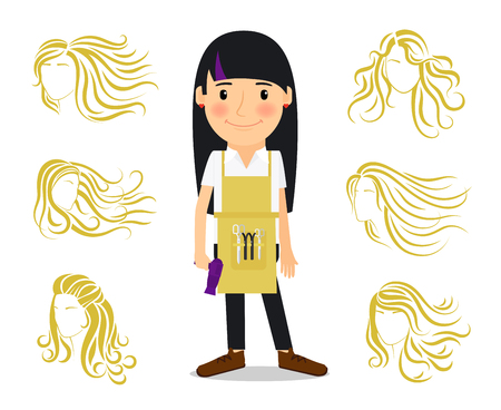 hairdresser: Hairdresser and female hairstyles. Colored image of hairdresser for ladies beauty salon. illustration Illustration