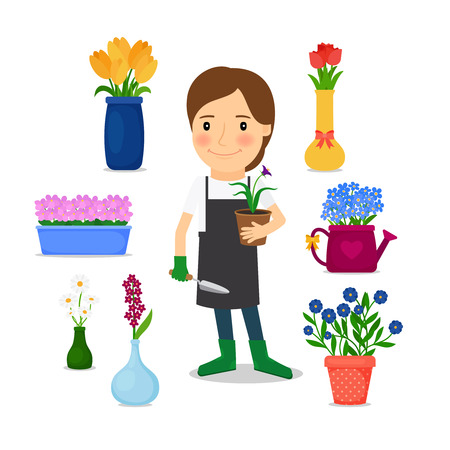 woman gardening: Gardening icons. Happy woman grows flowers. illustration