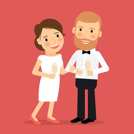 Wir feiern romantisches Paar. Romantische Paar Röstung. Illustration